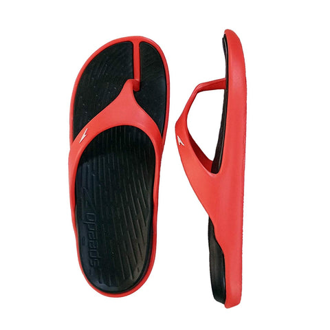 Speedo Extra-Light Water Resistant Swimming Slippers - (Black/Lava Red/White) - Prokicksports.com