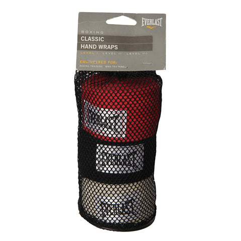 Everlast Classic Hand Wraps - 120 inches, Pack of 3 - Prokicksports.com