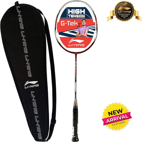 Li-Ning G-Tek 88 Muscle II Strung Badminton Racquet with Full Cover - Red/Grey - Best Price online Prokicksports.com