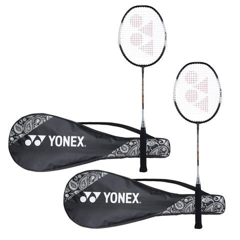 Yonex ZR 100 Light Aluminum Blend Badminton Racket with Full Cover, Set of 2 (Black + Black) - Best Price online Prokicksports.com