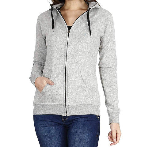 Prokick Women's Cotton Sweatshirt/Hoodie - Light Grey - Best Price online Prokicksports.com