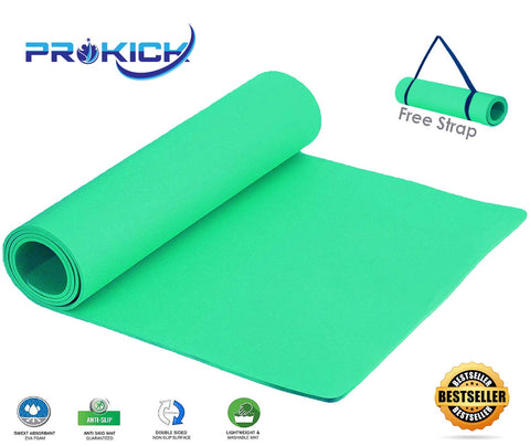 Prokick Anti Skid EVA Yoga mat with Strap - Light Green - Best Price online Prokicksports.com