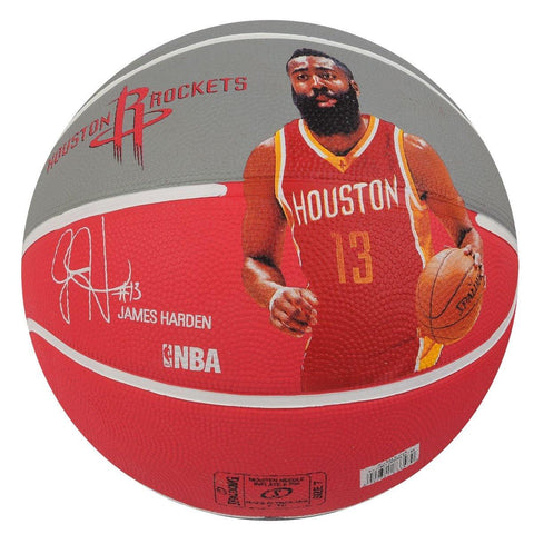 Spalding NBA Team Houston Rockets Player James Harden Basketball - Red/Light Grey, Size 7 - Prokicksports.com