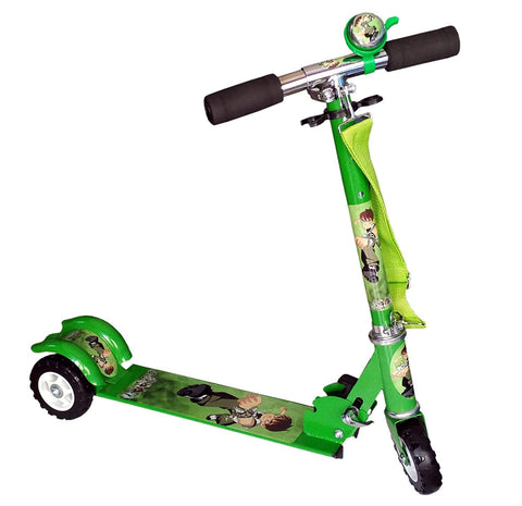 Prokick 3 Wheel Height Adjustable Folding Scooter for Kids, Flat Platform - Green - Best Price online Prokicksports.com