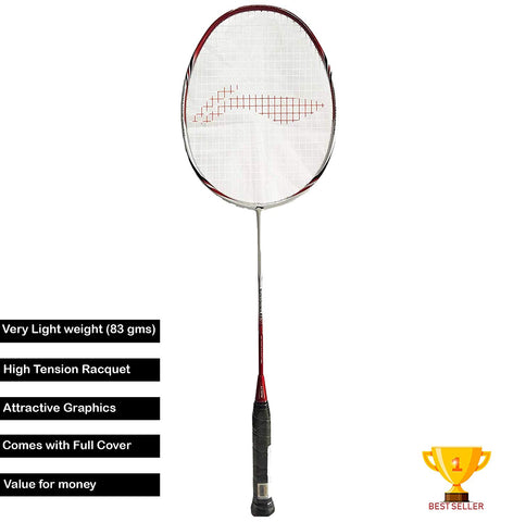 Li-Ning SS Series 78 G4+ Carbon Graphite Lightweight Strung Best Seller Badminton Racquet, S2 (White/Red) - Best Price online Prokicksports.com