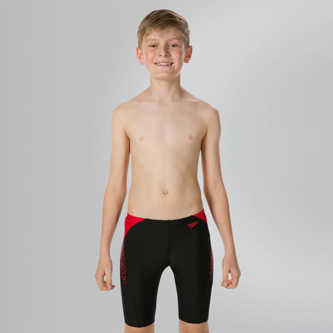 Speedo Boom Splice Swimming Jammer for Boy's, Black/Fed Red - Best Price online Prokicksports.com