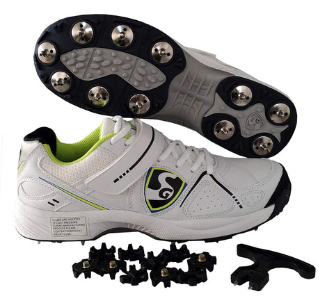 SG Hi-Light Cricket Studds with Metal Spikes Cricket Shoes, White/Flora/Black - Best Price online Prokicksports.com