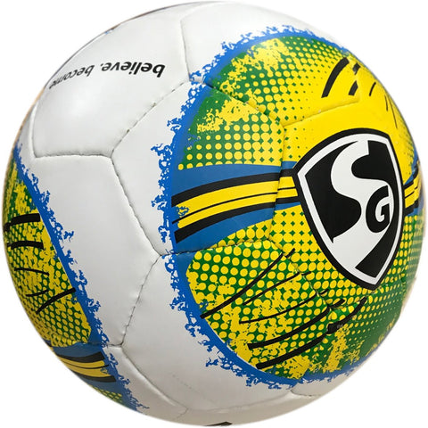 SG Icon Football, Size 5 (White/Yellow/Green) - Best Price online Prokicksports.com