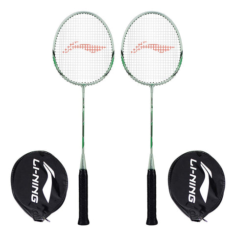 Li-Ning XP-80-IV Aluminum Badminton Racquet, Set of 2 (Grey/Green) - Best Price online Prokicksports.com