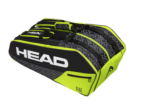 Head Core 9R Superombi Tennis Kit Bag (Black Neon Yellow) - Prokicksports.com