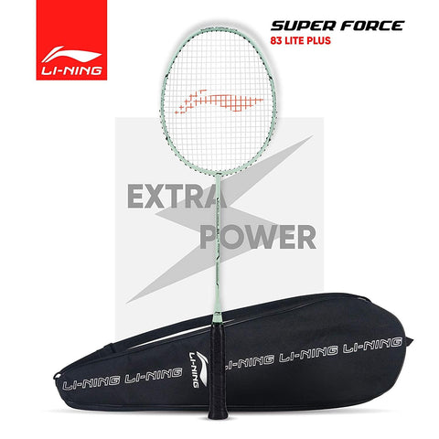 Li-Ning Super Force 83 Lite Plus Strung Badminton Racquet With Full Cover White/Black - Best Price online Prokicksports.com