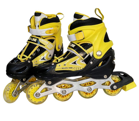 Prokick Adjustable in-Line Skates - Large (Suitable for Size 5.5UK to 10 UK), Yellow - Best Price online Prokicksports.com