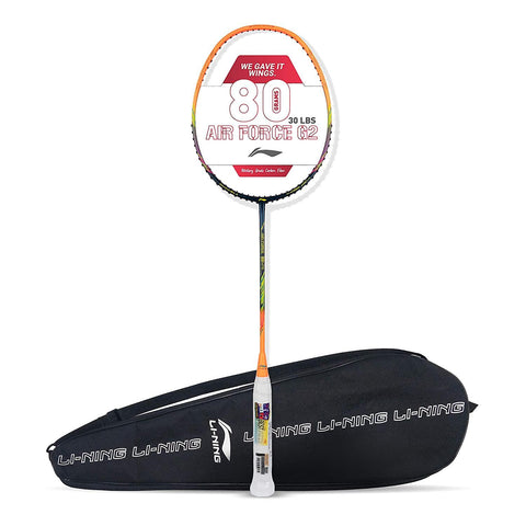 Li-Ning Air Force 80 G2 Carbon Fibre Badminton Racket with Free Full Cover Navy/Orange - Best Price online Prokicksports.com
