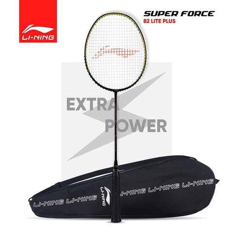 Li-Ning Super Force 82 Lite Plus Strung Badminton Racquet (Black/Orange) - Best Price online Prokicksports.com