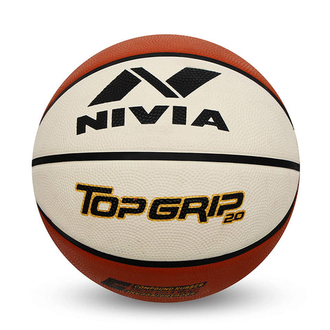 Nivia 1119 Top Grid 2.0 Rubber Basketball, Size 7 (White/Brown) - Best Price online Prokicksports.com
