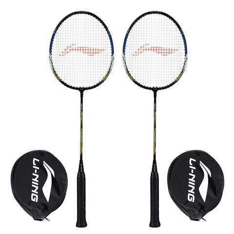 Li-Ning XP-70-IV Aluminum Badminton Racquet, Set of 2 (Black/Gold) - Best Price online Prokicksports.com