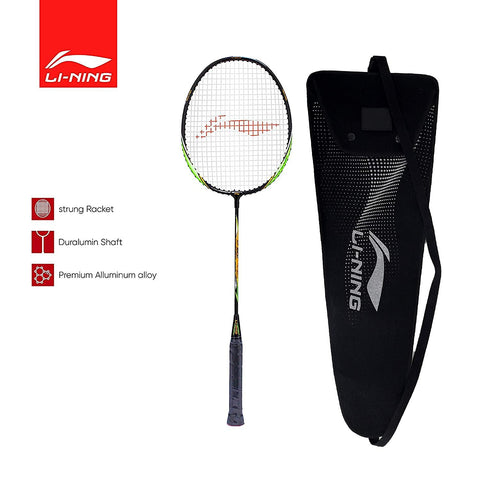 Li-Ning XP 901-PV SINDHU Signature Series Aluminum-Alloy Isometric Strung Badminton Racquet with Cover Black/Green - Best Price online Prokicksports.com
