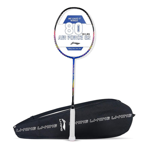 Li-Ning Air Force 80 G2 Carbon Fibre Badminton Racket with Free Full Cover Blue/Black - Best Price online Prokicksports.com