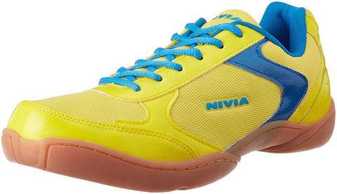 Nivia Badminton Flash Shoes, Men's UK 6 (Yellow/Aster Blue) - Best Price online Prokicksports.com