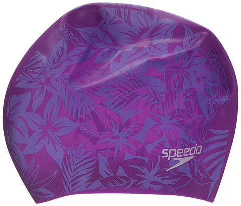 Speedo Long Hair Printed Cap (Pink/Purple) - Best Price online Prokicksports.com