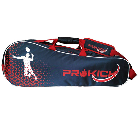 Prokick Badminton Kitbag with Double Zipper Compartments - Navy/Red - Best Price online Prokicksports.com