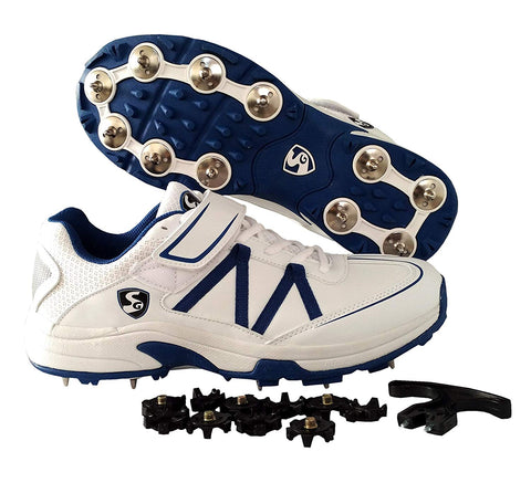 SG Ex-Treme Cricket Studds with Metal Spikes Cricket Shoes, White/Blue - Prokicksports.com