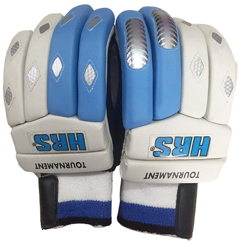 HRS Tournament Right Hand Batting Gloves (White/Blue) - Prokicksports.com