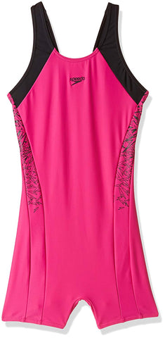 Speedo Girls Swimwear Boom Splice Legsuit (Electric Pink and Black) - Best Price online Prokicksports.com