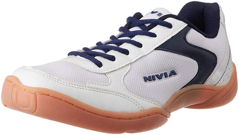 Nivia Badminton Flash Shoes, Men's (White/Blue) - Prokicksports.com
