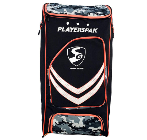 SG Players pak Cricket kit Bag, Black/Camo/Orange - Prokicksports.com