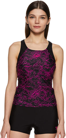 Speedo Female Swimwear Boom Allover Print Tankini with Boy Leg (Black/Elec.Pink) - Best Price online Prokicksports.com