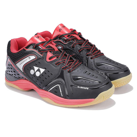 Yonex AEROCOMFORT 3 Non Marking Badminton Shoes Black Bright Red - Best Price online Prokicksports.com