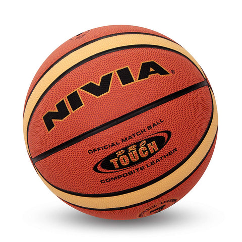 Nivia Pro Touch Leather Basketball, Size 7 (Orange) - Best Price online Prokicksports.com