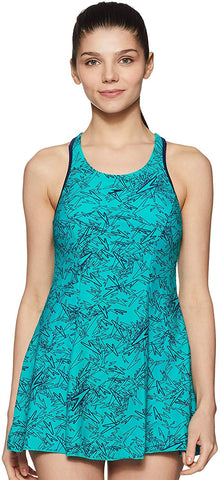 Speedo Female Swimwear All Over Print Racerback Swimdress With Boyleg (Jade / Navy) - Best Price online Prokicksports.com