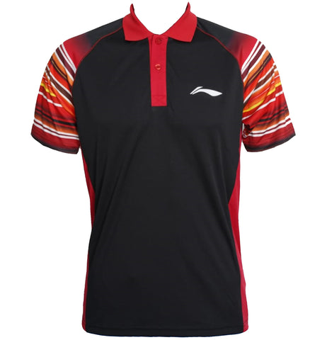Li-Ning Turbo-Dri Sweat Absorbing Collar Badminton T-Shirt, Black - Best Price online Prokicksports.com