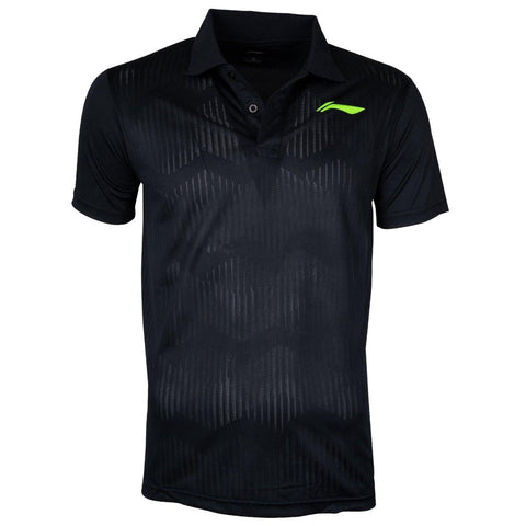 Li-Ning Training Polo Tshirt, Black/Neon Lime - Best Price online Prokicksports.com