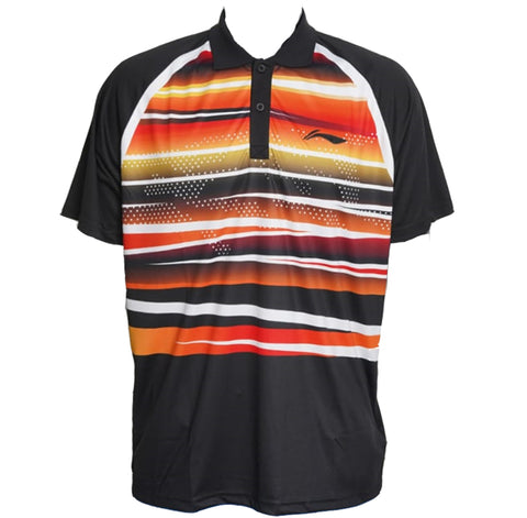 Li-Ning Turbo-Dri Sweat Absorbing Collar Badminton T-Shirt, Black - Prokicksports.com