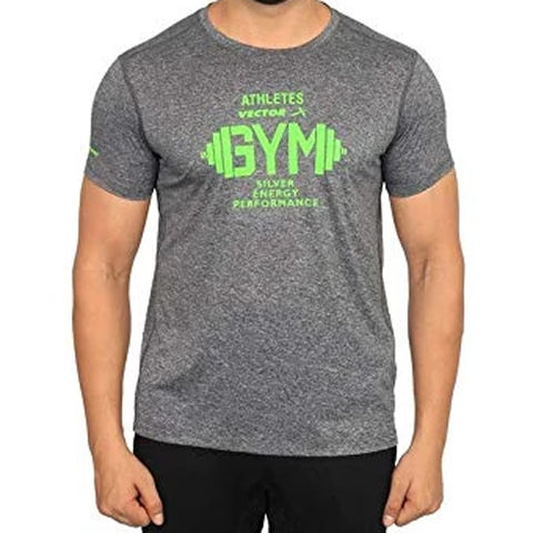 Vector X Silver-Energy-D Polyester Gym T-Shirts (Dark Grey) - Best Price online Prokicksports.com