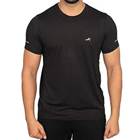 Vector X Sweat Control Men's Round Neck Compression Gym T-Shirt, Black - Best Price online Prokicksports.com