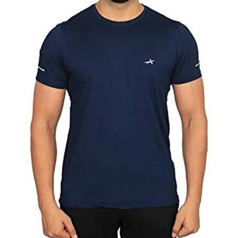 Vector X Sweat Control Men's Round Neck Compression Gym T-Shirt, Navy - Best Price online Prokicksports.com