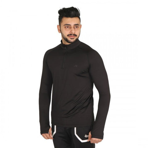 Vector X Thriller Men's Polyester Gym Tshirt Full Sleeves with Thumb Grip, Black - Best Price online Prokicksports.com