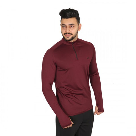 Vector X Thriller Men's Polyester Gym Tshirt Full Sleeves with Thumb Grip, Wine - Best Price online Prokicksports.com