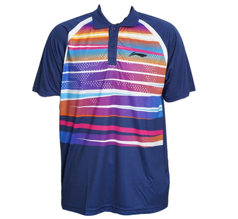 Li-Ning Turbo-Dri Sweat Absorbing Collar Badminton T-Shirt, Navy - Prokicksports.com