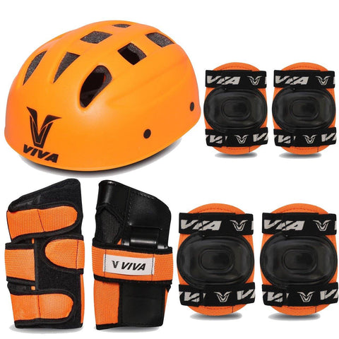 Viva 4 in 1 Protective Set for Skating and Cycling (Orange) - Best Price online Prokicksports.com