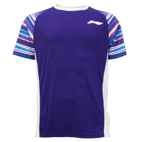 Li-Ning Quick Dry Sweat Absorbing Badminton Tshirt for men's, Purple - Prokicksports.com