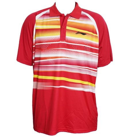 Li-Ning Turbo-Dri Sweat Absorbing Collar Badminton T-Shirt, Red - Best Price online Prokicksports.com