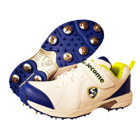 SG Savage Cricket Full Metal Spikes Shoes, White/Lime/Royal Blue - Best Price online Prokicksports.com