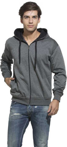 Prokick Men's Cotton Hooded Sweatshirt, Dark Grey - Best Price online Prokicksports.com