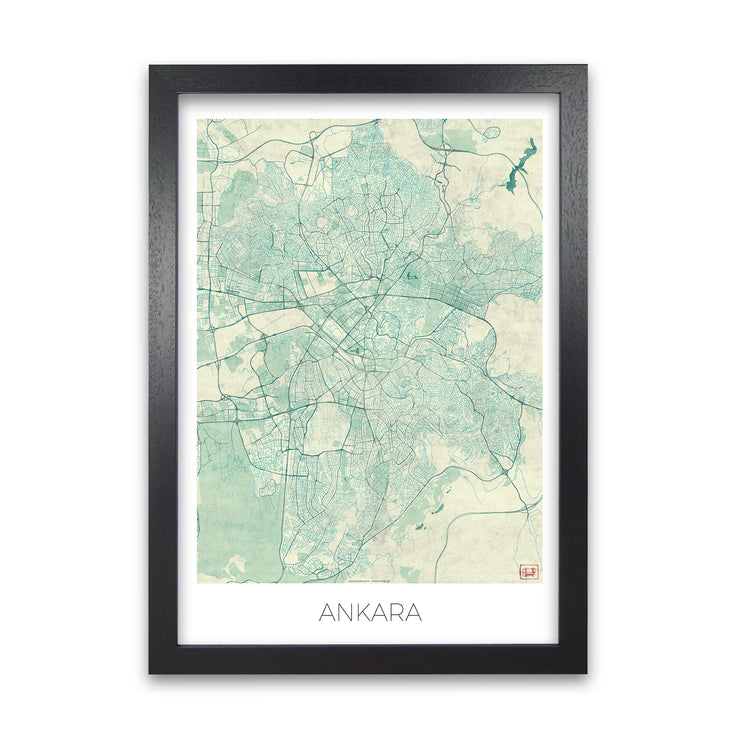 Ankara Blue Map Print