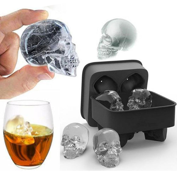 4 Grids 3D Skull Shaped Ice Cube